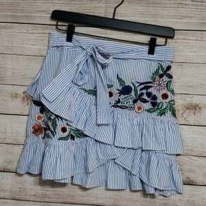 Zara blue/white striped floral embroidered skirt